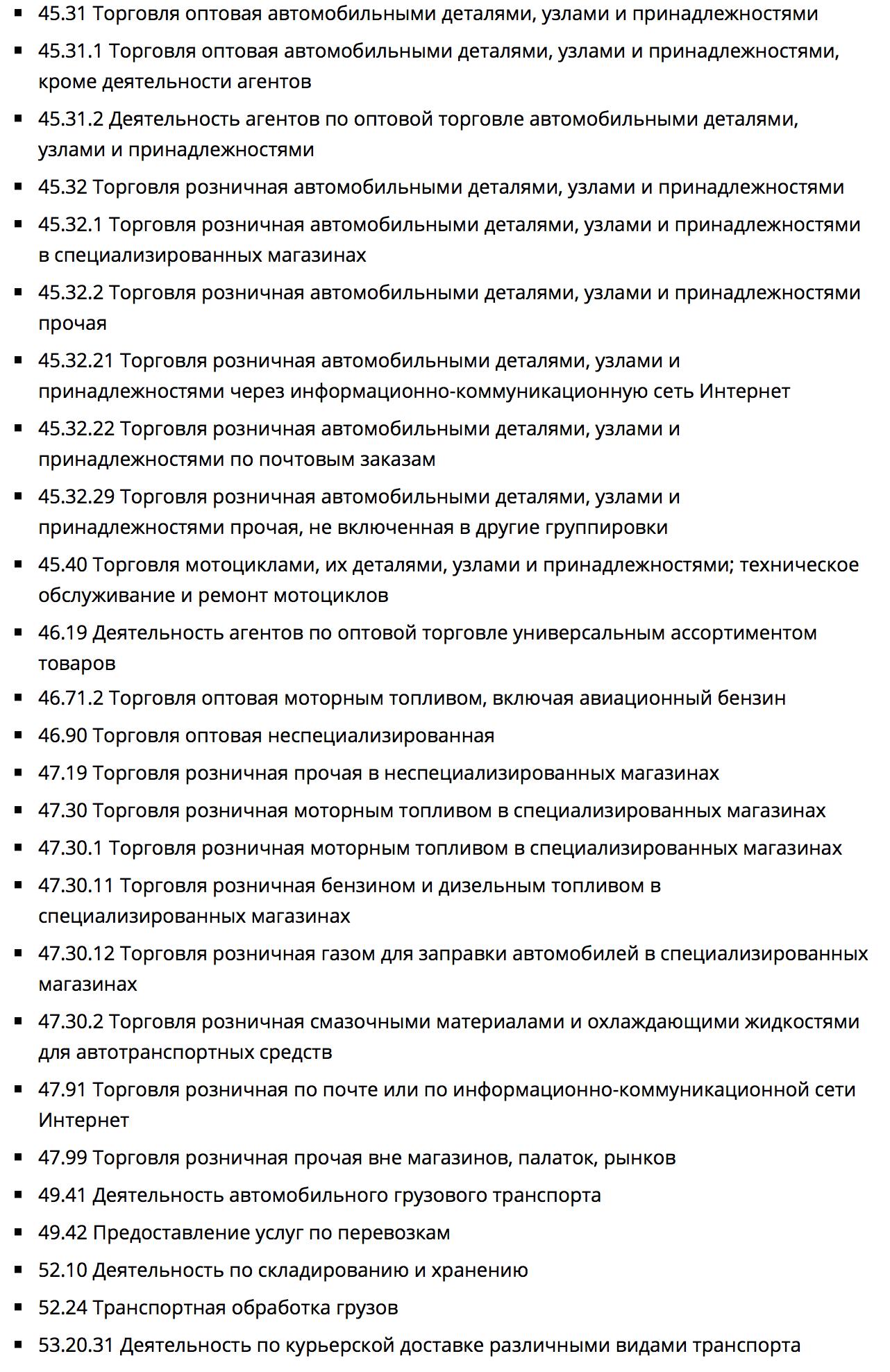 Коды ОКВЭД для магазина автозапчастей