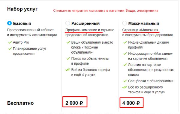 Стоимость тарифа в Авито категории Вещи